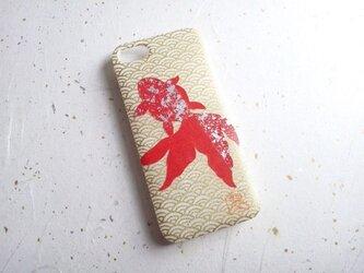 Wacon友禅和紙iPhone5/5sカバー[海波金魚]の画像