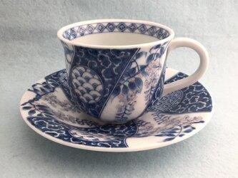 染付祥瑞藤文珈琲碗皿の画像