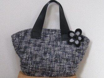 ツイードのバッグ~グレー~(コサージュ付き)の画像