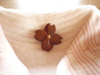 ハナミズキ サクラの木の花のブローチの画像
