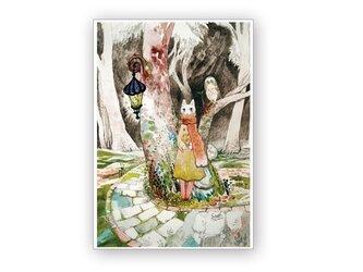 A4ポスター・旅猫と星とふくろう森の画像