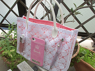 白レースbag in bag(中赤チェック)の画像