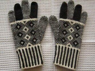 ◆◇北欧模様の編み込み手袋◇◆(チャコールグレー)の画像