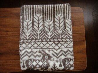編み込みのひざ掛け ロバと麦 茶×白の画像