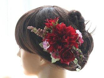 目を惹く赤ダリアの髪飾りの画像