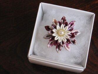 つまみ細工 指輪(正絹*淡水パール)の画像