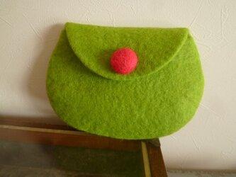 羊毛フェルトのポーチ ライムグリーンの画像