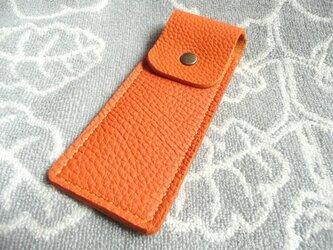 【new】手縫いトリヨンのペンケース(オレンジ)の画像