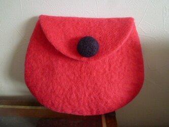 羊毛フェルトのポーチ  ネオンピンクの画像