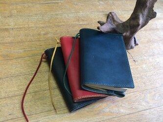 本牛革ブックカバー(黒)手縫い(タンニン鞣し)makecrewの画像