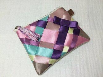 ユキハ様用 リボン編みのポーチ 秋カラー サイズSの画像