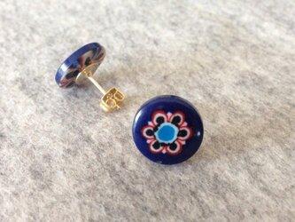 【イタリアボタン】ピアス青の画像