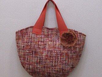 ツイードのバッグ~オレンジ~(コサージュ付き)の画像