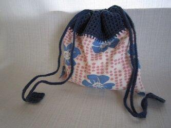 アメリカ花柄ふち編み巾着の画像