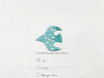 鳥の七宝焼きブローチ 森の色の画像