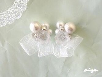 コットンパールの純白イヤリング 【受注制作】の画像
