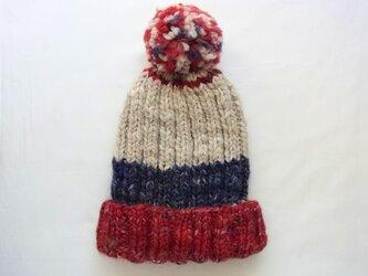 SALE 手紡ぎ糸のニット帽 H-063の画像
