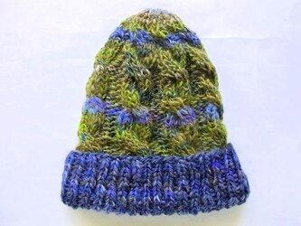 SALE  手紡ぎ糸のニット帽 H-061の画像