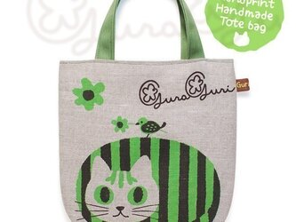 GuraGuri|リネン・ミニトートバッグ|グリーンの丸い猫の画像