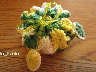花たくさんの巾着ポーチ AME-CHAN「ミモザ」の画像