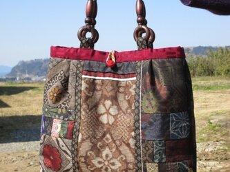 大島紬のシックなバッグ K様 ご依頼品 一点品の画像