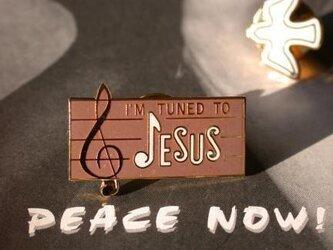 『I'M TUNED TO JESUS』ピン モカ+ベージュの画像