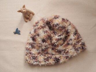 ふわふわニット帽【ブラウン系】の画像