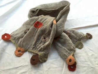 春夏用 リネンと羊毛のストール(ショート)の画像