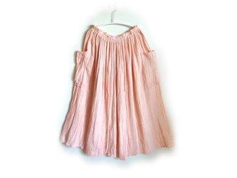 【丹土(薄)・べんがら染め】ギャザースカート ポケット付◆医療用ガーゼ服の画像