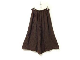 【チョコ/茶色】スカートみたいなワイドパンツ◆医療用ガーゼ服の画像