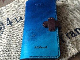 手染め本革紺色グラデーションスマホケースiPhone6の画像