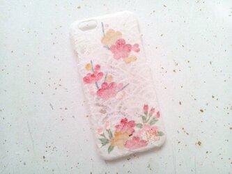 《受注製作》Wacon友禅和紙iPhone6/6sカバー[海波×梅桜]の画像