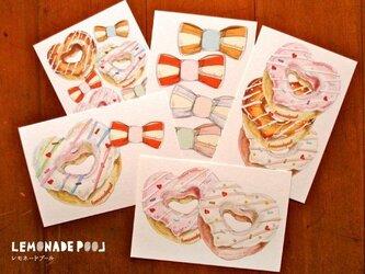 ハートドーナツリボンポストカード★5枚セットの画像
