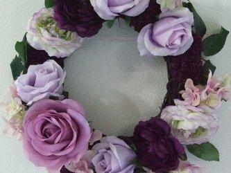 SALE 紫系フラワーリース♪の画像