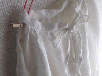 【受注製作/6.23再販売】リネンスタンドカラーリボンチュニック★オフホワイトの画像