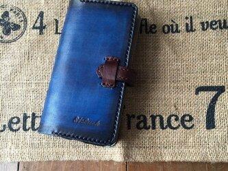 本革手染め濃紺アンティークスマホカバーiPhone6の画像