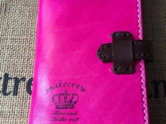 本革手染めツートンピンクブラックスマホケースiPhone6の画像