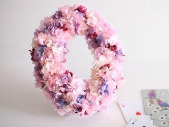 アジサイのオーバルリース(Pink)の画像