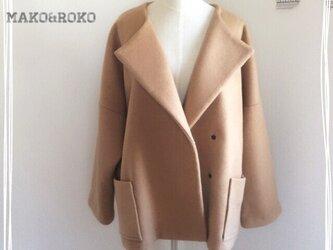 【キャメル】ウールポケット付きノーカラーコート♥の画像