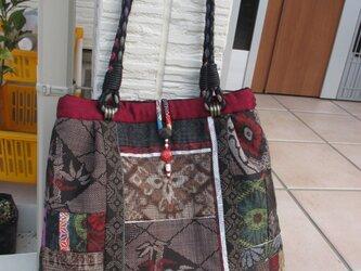大島紬のシックなバッグ   katuko様のオーダー品 一点品の画像