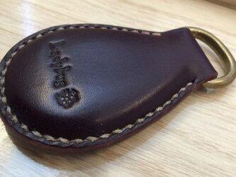 姫路レザーキーホルダー(しずく型パープル)の画像