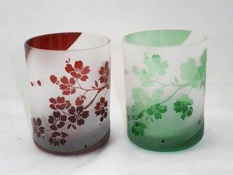 桜の花びらが美しいペアオールドグラスの画像