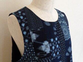 古布 絣(かすり)パッチワークジャンパースカート(総裏付)の画像
