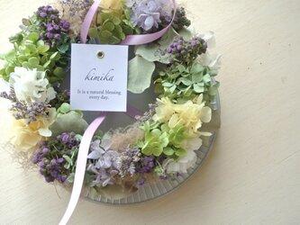 アゲラタムの優しい花冠のwreathの画像