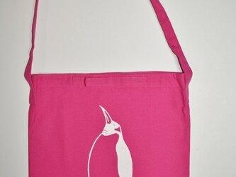 ペンギンショルダーバッグ、キャンバス地、ピンクの画像