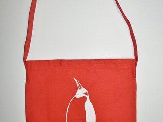 ペンギンショルダーバッグ、キャンバス地、赤の画像