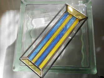 ステンドグラスのペントレイ*黄青*の画像