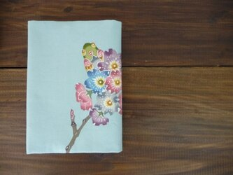 紅型ブックカバー 桜とメジロとちょうの画像