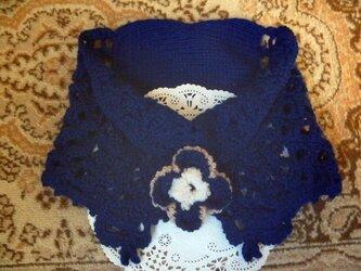 毛100%♪レース透かし編み模様のネックウォーマーの画像
