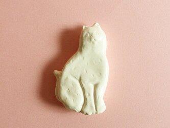 カトラリーレスト ネコ タテ 白マットの画像
